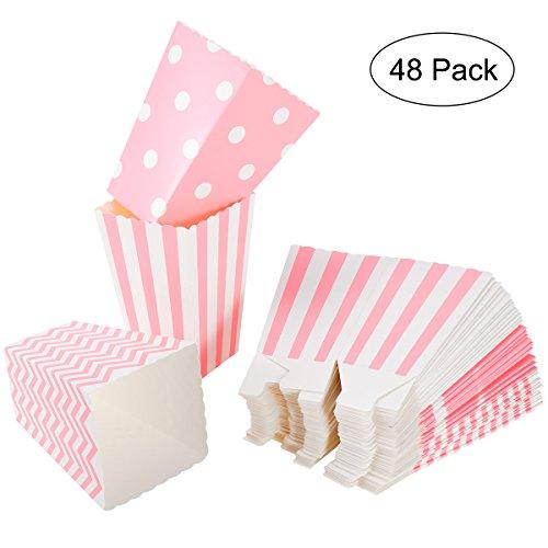 NUOLUX Popcorn Boxes,Karton Süßigkeiten Container, 12 x 7CM, 48 Stück, Pink