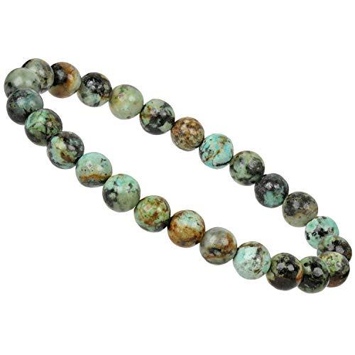 ELEDORO Edelstein Perlen Armband mit Afrikanischem Türkis 7,5-8mm Energieband für Damen