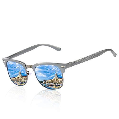 WWVAVA Sonnenbrillen Herren Polarized Sonnenbrillen Alle Aluminium Magnesium SerieFederscharnierAngelnDriving Brille Mode klassischen Stil, C05
