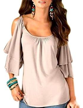 BienBien Donna Maglietta Elegante Estivo T Shirt Spalle Scoperte Moda Bluse con Volant Camicie Manica Corta Senza...