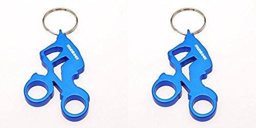 munkees 2 x Schlüsselanhänger Fahrrad Fahrer Flaschenöffner Alu, Sport-Geschenk Doppelpack Blau, 352769