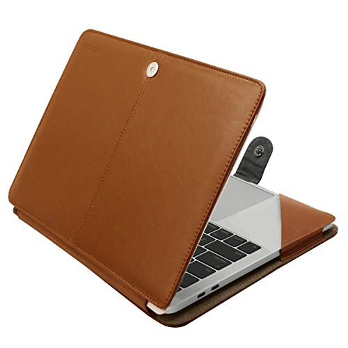 le Kompatibel 2018 MacBook Air 13 A1932 Retina Display / 2018 2017 2016 MacBook Pro 13 A1989/A1706/A1708, Book Folio Schutzhülle Stehhülse mit Klaren Trägern, Hellbraun ()