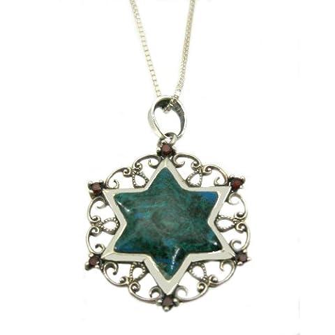 Ciondolo a forma di stella di David, in argento Sterling 925 e pietra Eilat-6 pietre di granato e la stella, motivo: gioielli