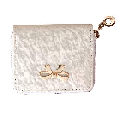 WFZ17 Münzgeldbörse für Damen, mit Reißverschluss, mit Schleife, Kunstleder, Mini-Kartenhalter weiß weiß - Weiße Schleife Münze