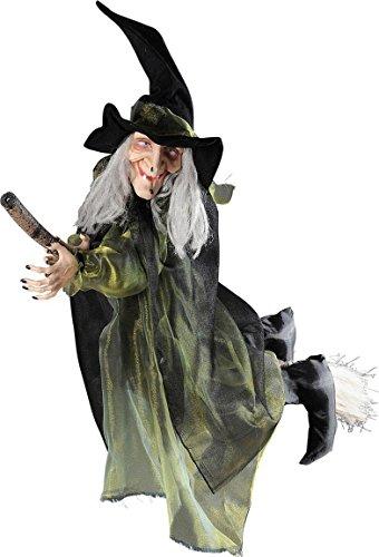 Fliegende Hexe auf Besen Halloween-Hängedeko schwarz-grün 100cm Einheitsgröße