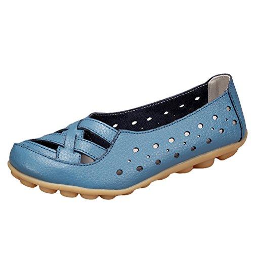 Vogstyle Damen Neu Hohl Mokassins Flach Loafer Slipper Schuhe Style 2-Light Blue UK4-4.5/EU37-37.5/CH38 (Mary Jane-kaffee)