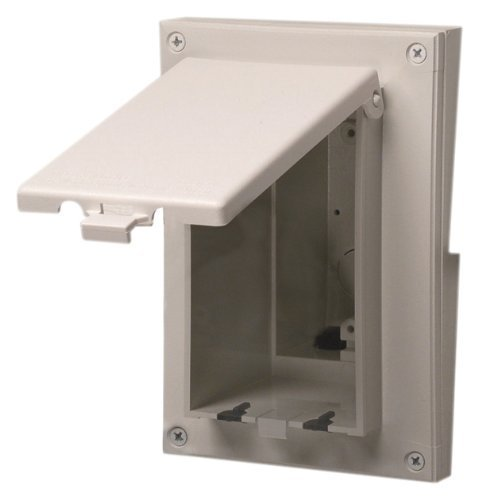 Arlington DBVR141W-1 Vertical Electrical Box with Weatherproof Cover for Rigid Siding, White, 1/2-Inch Lap by Arlington Industries -