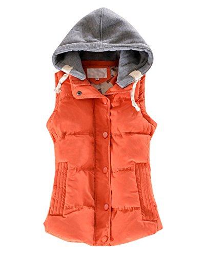 Damenwesten Westen Steppweste Warme Ärmellose Weste mit Kapuze für Damen Damenwesten Ärmellose Jacke Orange XL