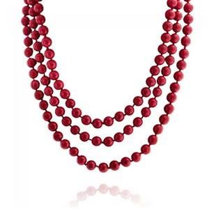 TreasureBay 5-IN-1 8mm round red coral necklace length: 160cm Necklace Presented in a Gift Box