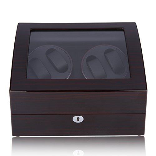 CRITIRON Coffret watch winder- Automatischer Uhrenbeweger aus Holz mit Schloss für Mehrere Uhren(4+6) Schwarz
