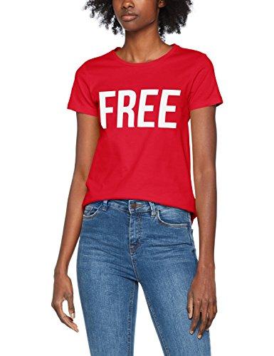 ONLY Damen T-Shirt Onlriva SS Tee Noos, 15152829-Print:Free W/Bright White, 36 (Herstellergröße: S) (Tee Crew Bio-l/s)