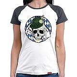 HARIZ  Damen Baseball Shirt Schädel Skull Wiesn Oktoberfest Outfit Tracht Dirndl Lederhose Plus Geschenkarte White/Navy M