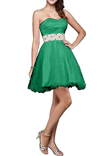 Charmant Damen Gruen Mini Kurzes Abendkleider Cocktailkleider Promkleider mit steine Neuheit festlichkleider Grün
