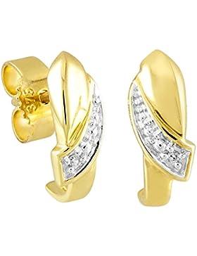 Diamond Line Damen - Ohrstecker 375er Gold 2 Diamanten ca. 0,01 ct., gelbgold