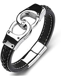 IUANUG Lederarmband Für Männer Edelstahl Handschellen Punk Style Mit Magnetschnalle Persönlichkeit Schmuck Armband,7.08Inches/18Cm