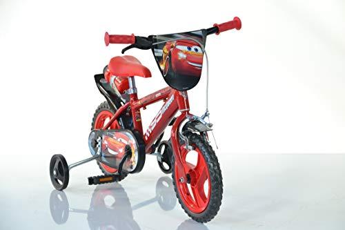 Cars Kinderfahrrad Lightning McQueen Jungenfahrrad - 12 Zoll | TÜV geprüft | Original Lizenz | Kinderrad mit Stützrädern - Das Fahrrad aus Cars als Geschenk für Jungen