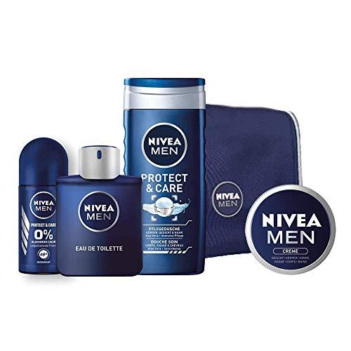 NIVEA MEN Eau de Toilette Set, 100 ml - EdT Herrenduft in Flakon mit Dose, Geschenkset für Männer mit NIVEA MEN Deo, Duschgel, Creme und Kulturtasche, 1er Pack -