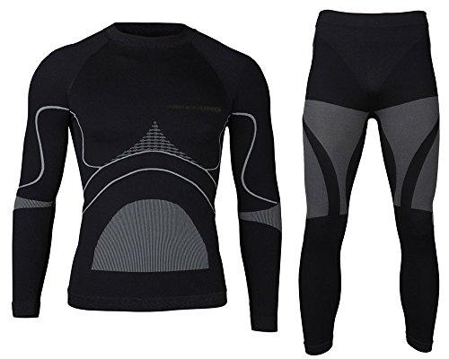 Energy Tech para hombre ropa interior térmica activa la función Set transpirable de esquí de esquí de fondo, color Negro - negro, tamaño M