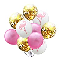 LELE Flamingo Balloons Birthday Party Decorations - 10pcs 12inch Balloons for Baby Shower/Party Supplies/Wedding (Pink,Gold & White with Flamingo pattern)