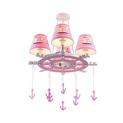 Prinzessin Drei-licht Kronleuchter ([Seeksung] Prinzessin Kind Navigation Cartoon Anker Moderne Einfache Kronleuchter Rosa Wohnzimmer Schlafzimmer Lampen Beleuchtung 4 Kopf Dekoration Lampen)