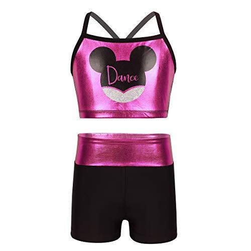 iEFiEL Bambina Abiti da Danza Body del Ventre Set da Ginnastica Tuta Sportiva 2 PCS Top e Pantaloncini Balletto Stampa Polka Dots Outfits Spalline