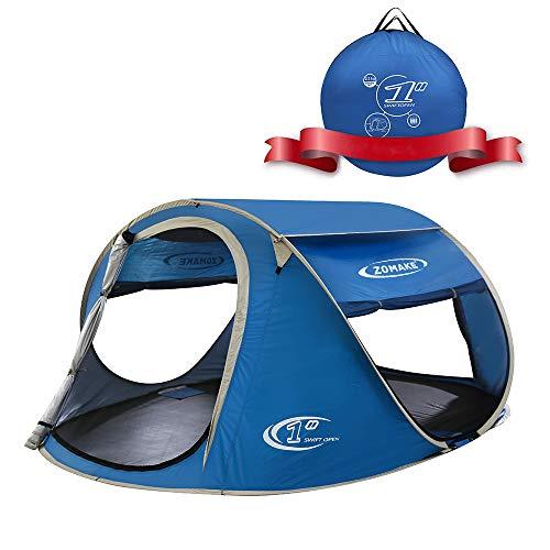 ZOMAKE Groß pop up zelt 4 personen,Schnellaufbauzelt Familie Outdoor Festival Zelt,Quechua Wurfzelt(Marineblau) (Den Outdoor-einsatz Für Tipi-zelte)