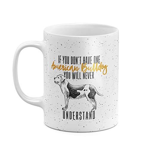 312 ml Kaffeetasse Tasse Tassen, Weißer Keramik Amerikanische Bulldogge Hund Hundeliebhaber American Bulldog Hill Bulldog Dog Lover Dogo Einzigartiges Geschenk für den besten Freund Geburtstag -