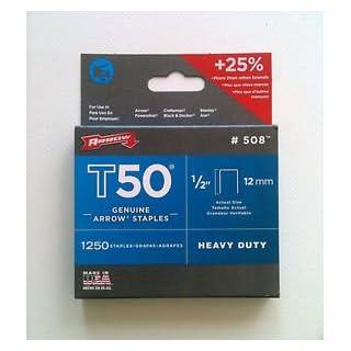 Arrow Fastener T50 12Mm 1/2Inch Heavy Duty Staples Box Of 1250 #508