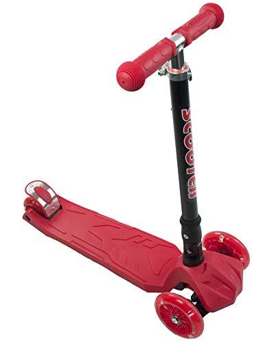 Profiseller - Pieghevole Monopattino Maxi - Scooter a 3 Ruote Lean-to-Steer Altezza Regolabile con LED Light Up Wheels (Rosso)