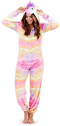 Loungeable Boutique Damen Einhorn Einteiler Damen Pyjama 3D Ohren Hupe & Schwanz Alles in eins Hausanzug - Regenbogen Einhorn, Größe - XL - UK 20-22