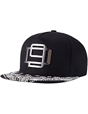 Aivtalk - Snapback Gorra de Béisbol Negro Ajustable Sombrero Plano Moda Accesorio Hombres Mujeres