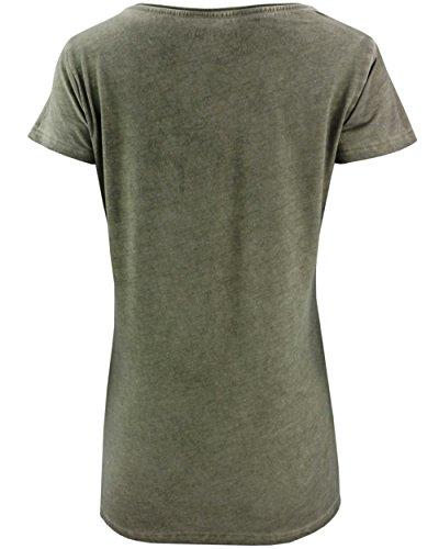 COCCARA Damen T-Shirt Aleshia Vogel Kolibri Pailletten Top grün lila grün:  GREEN T865