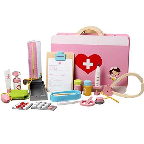 BIUYYY Kinderarzt-Set, Medizinisches Werkzeugset Aus Holz, Ungiftiges Holz Und Aufklappbares Medizinisches Kit, Arzt Rollenspiel -