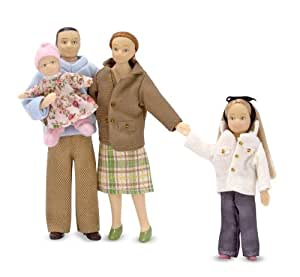 Melissa & Doug  4-Piece Victorian Vinyl Poseable Doll Family for Doll's House - 1:12 Scale