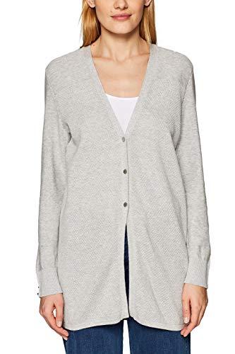 Baumwolle Wolle Strickjacke (ESPRIT Damen 029EE1I002 Strickjacke, Grau (Light Grey 5 044), Large)