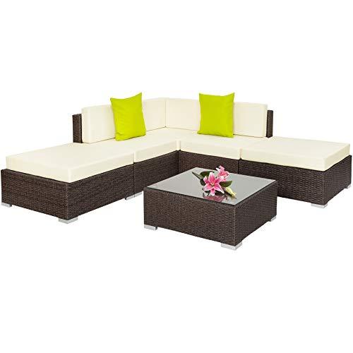 TecTake Hochwertige Aluminium Polyrattan Lounge Sitzgruppe mit Glastisch inkl. Kissen und Klemmen - Diverse Farben - (Antik Braun | Nr. 401813)