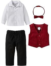 Bornino 4-tlg. Set Festliche Mode/Babybekleidung Junge/Anzug / rot/weiß/schwarz