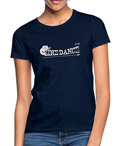 Spreadshirt Line Dance Frauen T-Shirt, XL (42), Navy (Cowboy-stiefel Zum Tanzen)