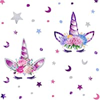 Arttop Cute Unicorn Wall Decal Colorful Stars Wall Stickers Removable Moon and Dots Room Decor Flower Decoration Wall Sticker For Girls Bedroom Fairytale Wall Art Home Decor