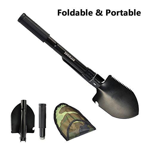 ATPWONZ Folding Shovel Mufti functional Little Portable Camping Shovel Survival Emergency Garden Outdoor Spade with Nylon Carry Case