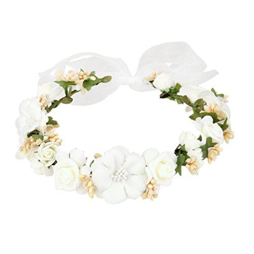 Guirlande de Fleurs Bandeau de Cheveux Lady Boho Floral Décoration Festival Mariage Blanc