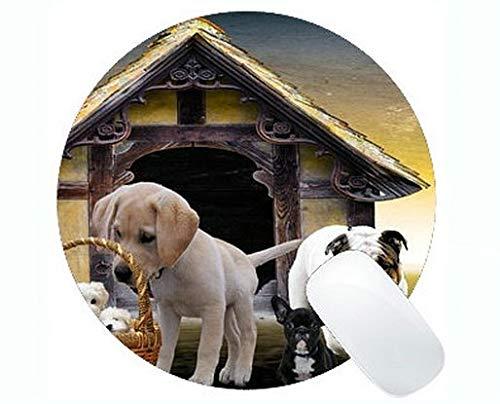Runde Mauspads, Tiere, Hunde, Welpen, Hundehütte Cute Puppy Family Gaming Mauspad - W Hundehütten