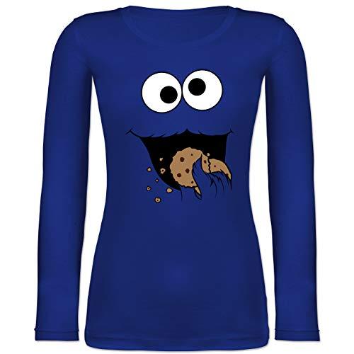 Shirtracer Karneval & Fasching - Keks-Monster - L - Blau - BCTW071 - Langarmshirt Damen