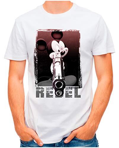 OM3® - Rebel-Mouse - T-Shirt | Herren | Gun Mickey Parody Vintage Printshirt | Weiß, 3XL