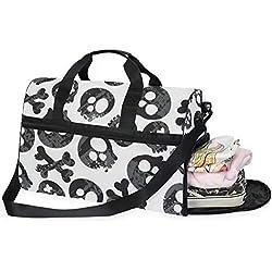 Dallonan - Bolsa de deporte para hombre, diseño de calaveras abstractas, fondo blanco, bolsa de noche para hombre con compartimento para zapatos para mujer
