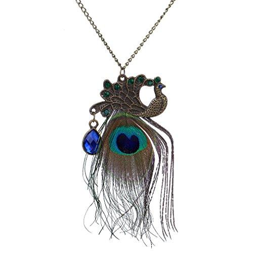 Yazilind Schmuck On Sale! Pfau-Federn Blau Dazzling Kristallanh?nger Lange Retro Halskette Kette Kleidung f¨¹r Frauen- Geschenk-Idee
