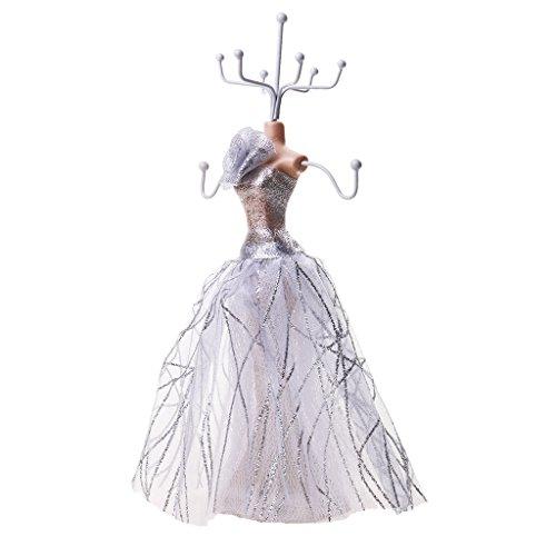 (Generic Mannequin Schmuckständer Schmuckhalter aus Harz Schmuck Kette stehen Display Halter - Silber, 10 x 10 x 24 cm)