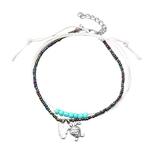2Frauen Fashion Perlen Schildkröte Charms Fußkettchen Knöchel Armband Kette Foot Jewelry–Multicolor (Schildkröte Zwei Licht)