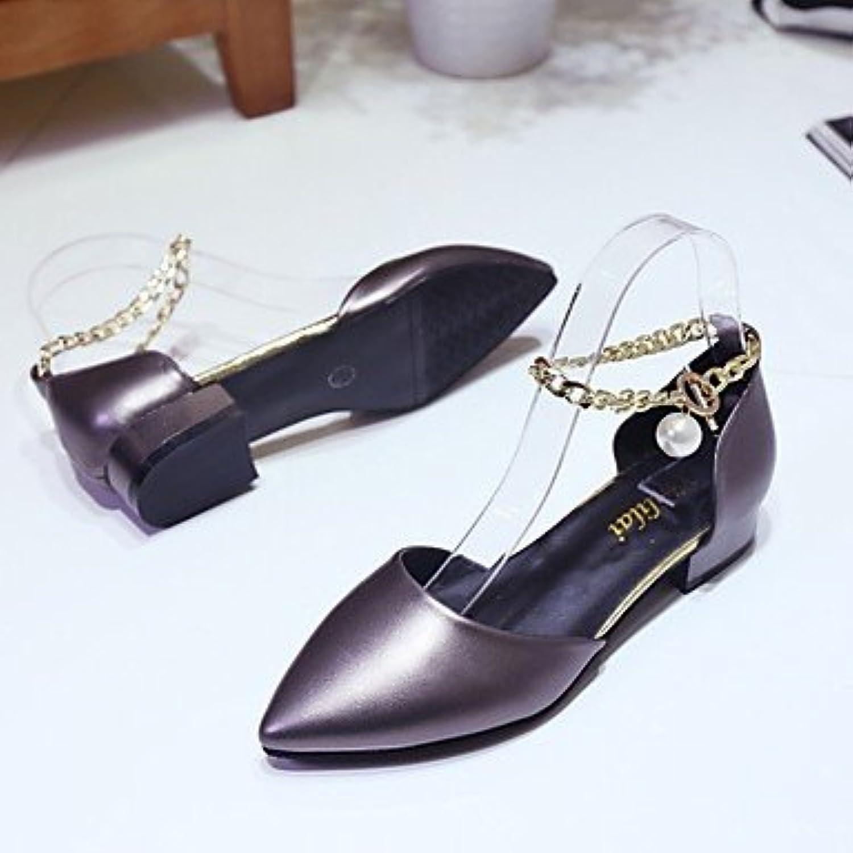 RTRY Zapatillas De Mujer &Amp; Flip-Flops Verano Chunky Heelblack Pu Confort Casual Blanco Gris Oscuro Caminando...