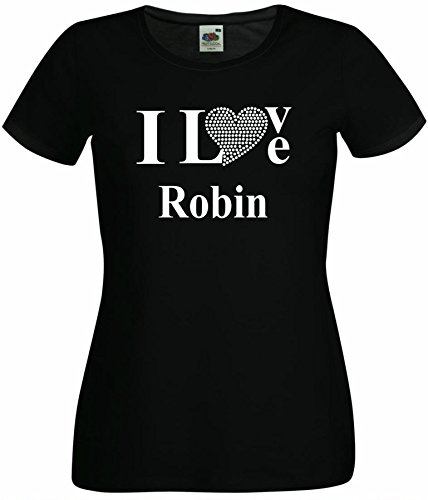 T-Shirt I Love Robin mit einer Strassaplikation / Strassherz Schwarz